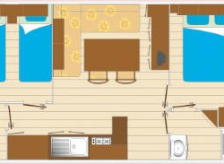 Mobil home 6 personnes 2 chambres plan