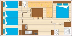 Mobil home 6 personnes 3 chambres plan