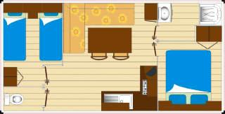 Mobil home 4 personnes 2 chambres plan